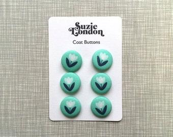 Tulip Coat Buttons in Aqua