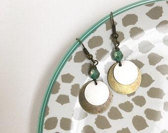 Boho dangle earrings, bronze and silver, mixed metals, czech glass, gypsy, bohemian