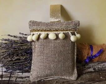 Lavender Bag, Scented Linen Hanging Decoration, Lavender Sachet, Gold Ribbons With PomPoms Large 15m x 12cm  FREEPOST UK