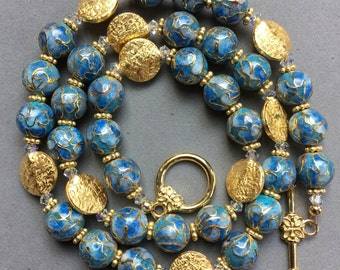 Jewelry Set: Blue Cloisonné, Swarovski Crystal, and Gold Vermeil Beaded Necklace and Earring Set