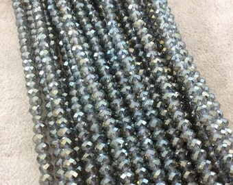 "4mm x 6mm Iridescent AB Finish Faceted Trans. Dark Sage Green Chinese Crystal Rondelle Beads - 17"" Strand (Approx. 94 Beads) - (CC46-86)"