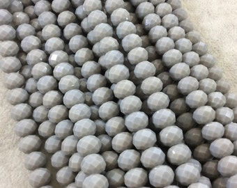 """8mm x 10mm Glossy Finish Faceted Opaque Medium Gray Chinese Crystal Rondelle Beads - Sold by 17"""" Strands (Approx. 57 Beads) - (CC810-58)"""