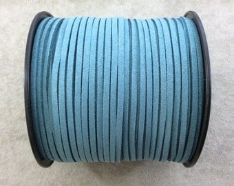 FULL SPOOL - Matte Deep Aqua Blue Faux Micro Suede Jewelry Cord - Measuring 1.5mm x 2.5mm - 325 Feet (100 Meters) - Imitation VEGAN Leather