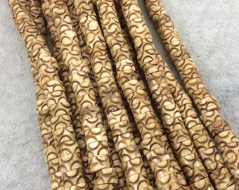 """8mm Carved Light Brown Natural Ox Bone Wavy Patterned Heishi/Disc Beads with 2mm Holes - Sold by 16"""" Strands (Approximately 90 Beads)"""