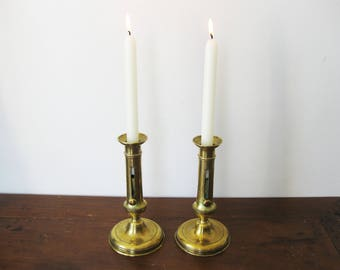 Vintage Large Set of 2 Brass Candle Stick Holders