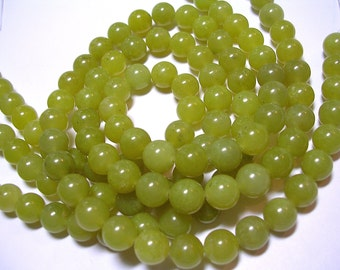 8mm Natural Peridot Rounds Gemstone Beads Green Stone Rounds 45 Beads 15 inch Strand 1mm Hole February Birthstone