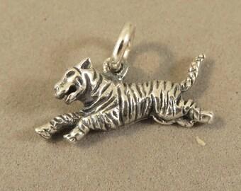 Running TIGER .925 Sterling Silver Charm Cat Safari Jungle Bengal Siberian Sumatran Pendant New an80