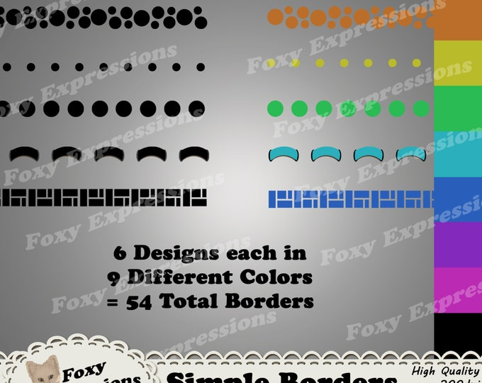 Simple Borders comes with 6 designs and 9 different colors each. Large Dots, Tiny Dots, Bubble Dots, Dashes, Rectangle Designs, and Ribbons