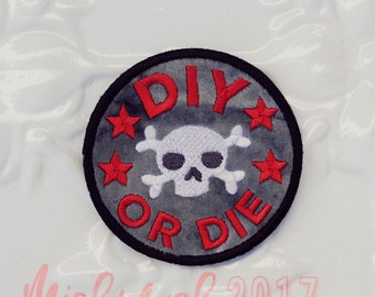 DIY or DIE - Patch Badge in Minky -Iron on- Embroidered Applique Patch