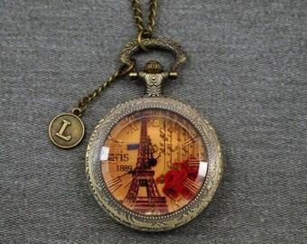 Eiffel Tower Pocket Watch Notre Dame de Paris Watch Fob Mens Pocket Watch Arc de Triomphe Locket Pendant 46mm -P678