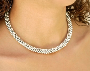 Halo Necklace, 925 sterling silver, beaded