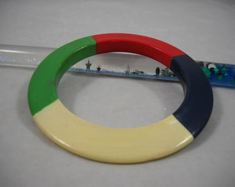 Bracelet Vintage 1980's Painted Wood Bangle