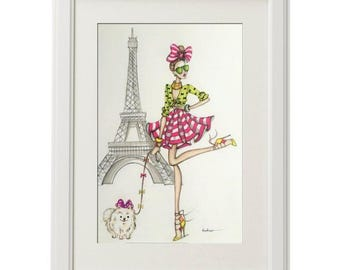 ORIGINAL Fashion Illustration -Paris city chic