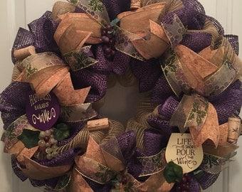 Wine wreath, Grape wreath, Grapes, Wine cork wreath, Wine Décor, Grape Décor, Grapes,  Wine lovers gift, Wine Housewarming