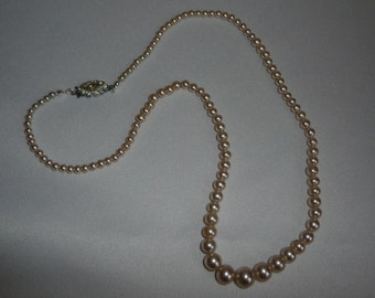 A Very Elegant Vintage Single Strand Faux Pearl Necklace With Rhinestone Clasp - Excellent for Bridal Wear