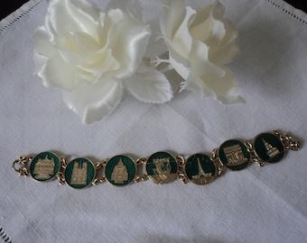 French vintage decorative enamel Paris landmark souvenir bracelet (04813)