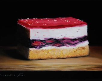 """Daily painting - """"CAKE WITH JELLY"""" Sebastian Talar (oil painting, still life painting, original painting, original art, daily painter)"""