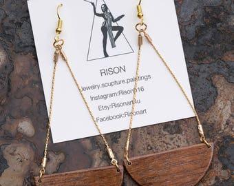 wood chandelier earrings, gold dangle earrings, gold chandelier earrings, long walnut earrings, natural wood earrings, boho, chic, simple