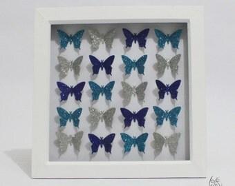 "Butterfly 20 Flutter Picture Frame Glitter Blue & Silver 9x9"""