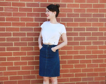 Vintage 1970s Denim Skirt | SWEEPER Denim Skirt |  Orange Top Stitch | Indigo Denim Mini Skirt | XXS/XS
