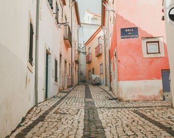Street photography in Lisboa, Portugal. Pastel pink alley