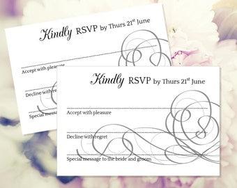 Wedding RSVP card template, editable RSVP, black rsvp card, rsvp printable, rsvp template, wedding template, diy rsvp card, (Entwined)