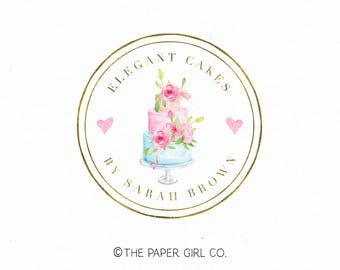 wedding cake logo bakery logo design bakers logo design baking logo design cake shop logo premade logo design gold foil logo watercolor logo