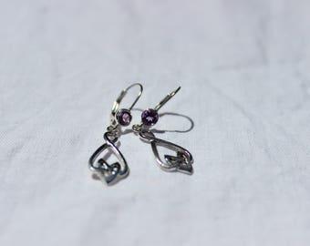 Amethyst and Sterling Silver Celtic Drop Earrings, February Birthstone Earrings, Dangle Drop Earrings, Classic Earrings, Lever Back Earrings