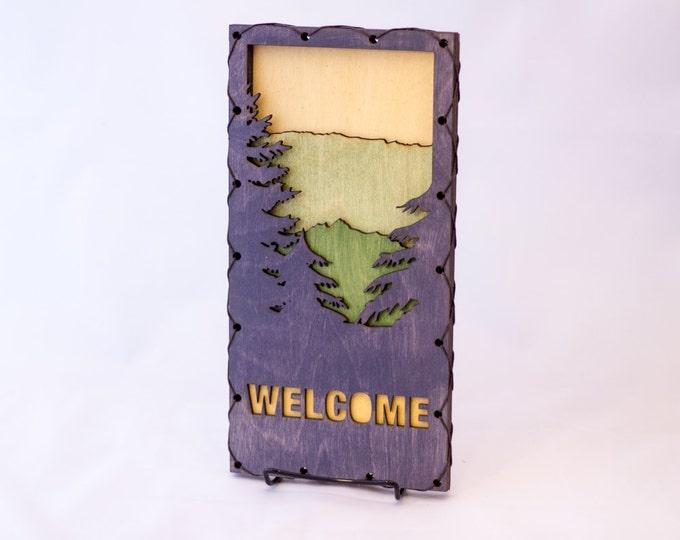 Mountain Welcome Sign - Mountain Wall Art - Green Welcome Sign - Mountain Home Decor -  Rustic Mountain Decor - Mountain Decorating Idea