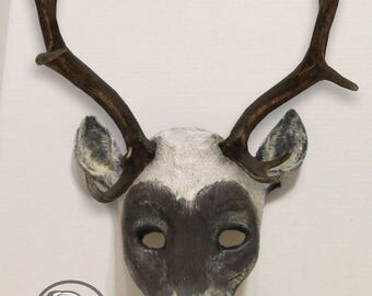Caribou mask, realistic costume animal mask, faux antlers, made to order, handmade, hand painted, masquerade mask, Carnival mask