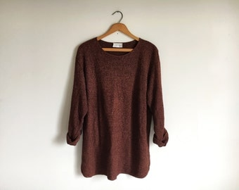 Vintage 90s Chocolate Oversized Knit Slouchy Boyfriend Sweater