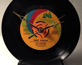 "Recycled NEIL DIAMOND 7"" Record  • Song: Sweet Caroline • Record Clock"