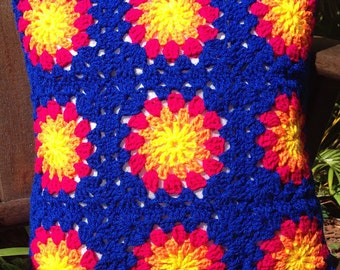 Patchwork vintage style granny square crochet cushion cover