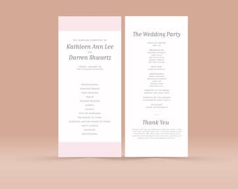 Wedding Ceremony Church Program No. 4 - Printable PDF