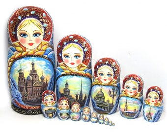 Big Nesting dolls Moscow Blue. Russian Large matryoshka Sights of Moscow kod332