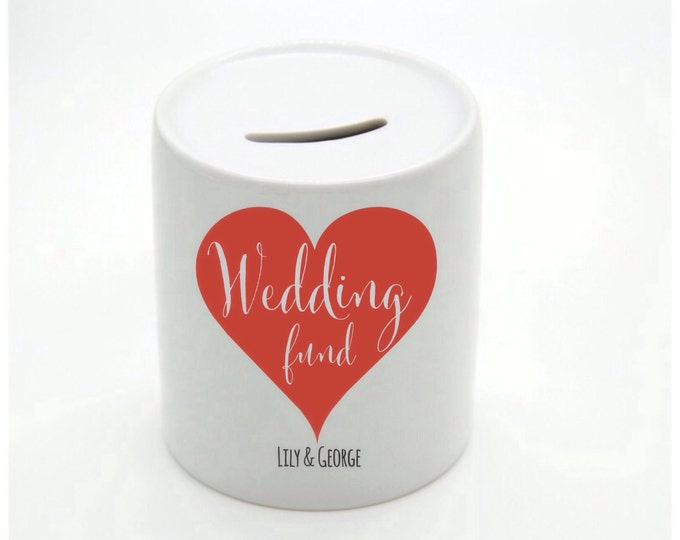 Personalised Money Box | Piggy Bank. Wedding fund | Couple's names | available any colour.