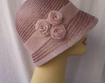 Summer Cloche, Cloche, Cloche Hat, 20s Style, Buntal Hat, Sun Hat, Vintage Hat, Retro, 20s, Wedding, Pink Accessories, 1920, Flapper