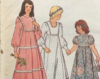 Sewing Pattern No 1431 Style Childrens Bridesmaid Dress Size 10 Flower Girl Dress, Communion Dress Boho Style Flower Power