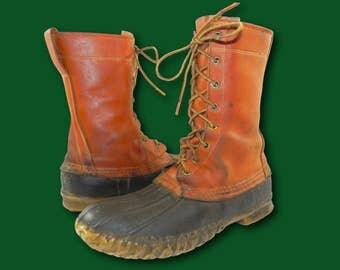 1960's L.L. BEAN 'Maine Hunting Shoe' Cursive Label Leather Duck Boots M 6 /W 8