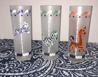 Vintage Libbey frosted animal print tall tumbler glasses