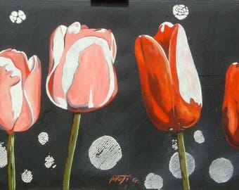 4 measuring 60 x 120 cm.no oil painting tulips frame