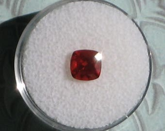 6.75 mm. Andesine-Labradorite, Mongolia. Red. Loose Faceted Cushion Gemstone. 1.10 Carat. Jewelry. Collect.  Item #1364