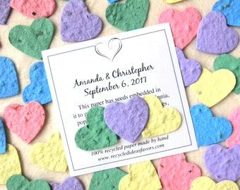 150 Plantable Wedding Favors - Flower Seed Paper Hearts Confetti Packets - Seed Envelopes Favor Cards - Green Lilac Pale Yellow