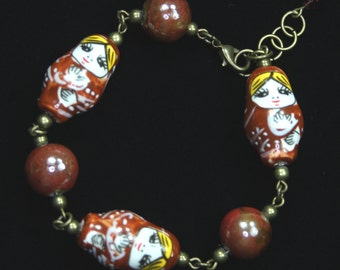 Porcelain Russian Doll Beaded Bracelet