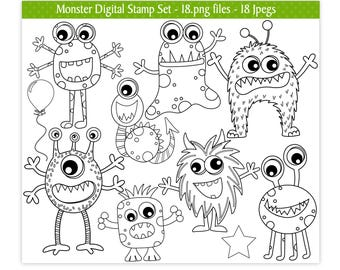 Monster Digital Stamps,Alien Digital Stamps,Digital Stamps,Monster Stamps,Alien Stamps,Monster Clipart,Alien Clipart,Commercial Use