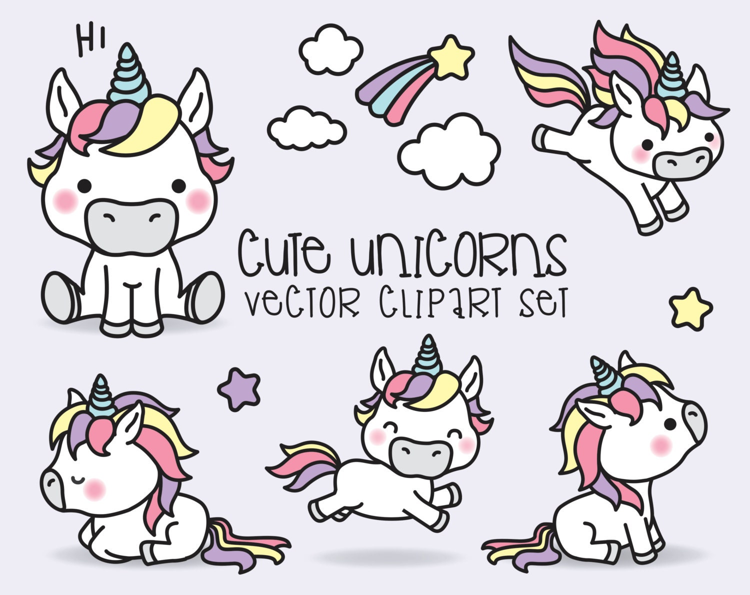 Premium Vector Clipart Kawaii Unicorns Cute