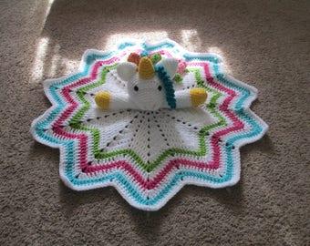 Crochet Unicorn Lovey----Snuggle Blanket
