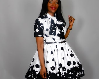 Black and white African print dress pussy bow dress, African clothing,African print dresses,have print,handmade clothing