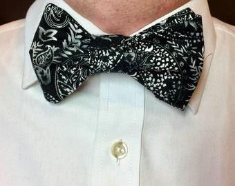 Black White Bow Tie, Black Gray Bow Tie, Black Floral Bow Tie, Mens Bow Tie, Ring Bearer Bow Tie, Boys Bow Tie, Wedding Bow Tie, Girls Bow