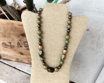 Avocado Green Vintage bead necklace